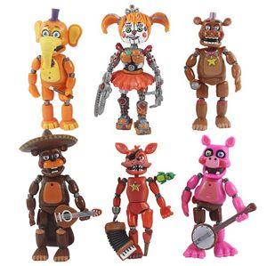 6PCS / lot cinco noites no Freddys Urso Boneca 13 centímetros Luz Bloqueio de figuras de ação brinquedo PVC FNAF Freddy Anime Vinyl Nendoroid Set
