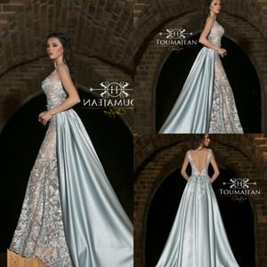 Toumajean A Linha Prom Dressess Applique Lace Com Destacável Cetim Overskirts Evening Vestidos Vestido de Festa Formal robes de soirée