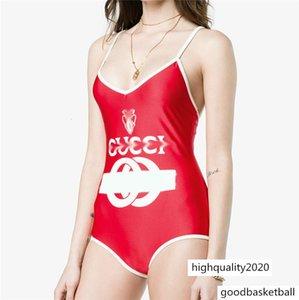Women Brand Designer Swimsuit Luxury One Piece Backless Swimwear Sexy Letter Pattern Cross Strap Jumpsuit Playsuit Top