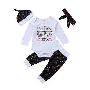 4PCS Ano Novo roupa do bebê Set Bebé da criança que menina calças de algodão bonito Romper manga comprida Outfits roupas