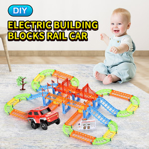 TW2006145 DIY rail block Electric rail car total 108PCS included Suv Building Blocks Rail Car trailer toys