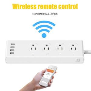 10PCS Wifi Smart Plug العمل مع Amazon Alexa Google Assistant Wifi Smart Power Strip Charger 10A with 4 Usb Charging Port
