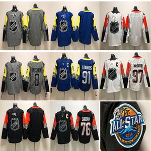 2018 NHL All Star 97 Connor McDavid 8 Alex Ovechkin 91 Steven Stamkos 76 P. K. Subban Branco Preto Azul Cinza camisas de hóquei