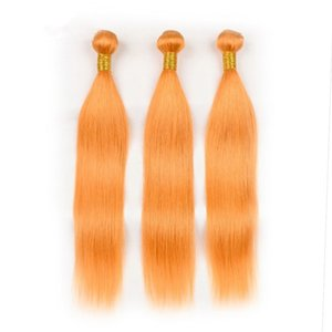 """Paquets de cheveux humains de couleur orange indiens à armure droite 3Pcs Pure faisceaux de cheveux humains vierges orange Offres doubles trames 10-30 """""""