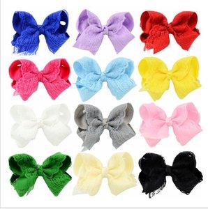 De las capas dobles de la cinta para niños Hairwears estilo europeo niñas Ins dulce del cordón de clips de pelo de los cabritos del Bowknot princesa Barrettes