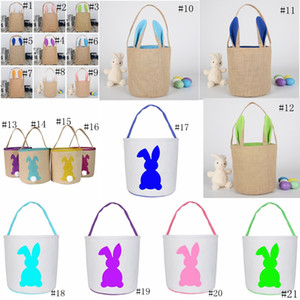 21styles Easter Rabbit Baskets Easter Bunny Bags Rabbit Printed Canvas Tote Bag Egg Candy Bucket Baskets Tote Handbags GGA3190