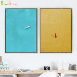 Abstract Seascape Girl Nordic Poster Wall Art Canvas Painting Modern Picture Poster Wall Pictures For Living Room Senza cornice