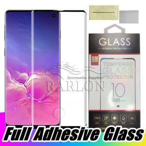 حافظة صديقة للالزجاج المقسى ، لاصقة كاملة ، لاصقة ، شاشة تعمل باللمس ، مع واقي للشاشة لهواتف سامسونج S10 بلس 5G Note 10 9 S9 S8 Plus