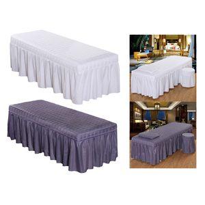 2x cosmétiques Beauté Massage Table Jupe Beauty Salon DRAP Valance couverture avec le visage Breath-trou 190x80cm