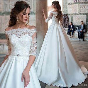 Принцесса Arabic Свадебные платья кружева половину рукава плеча Свадебные платья Bateau сатин Турция невесты платье свадебное платье Дешевые Vestidos
