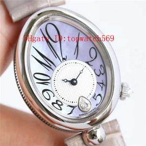 Top Reina de Nápoles 8918BR reloj del diamante del reloj para mujer de los relojes de señoras Cal.537 / 3 mecánico automático de la madre-de-perla de cristal de zafiro Dial