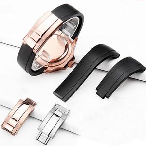 Bandas relojes correa de silicona de goma para el Rolex Oyster Tipo constante movimiento / Cosmometer Serie Ditonna 20mm correa de silicona Y200325