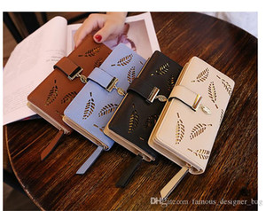 FDB Multifunctional long wallet tree leaf hollow-carved design wallets Multi-card credit card holder Cash Cell phone bag with zipper DHL