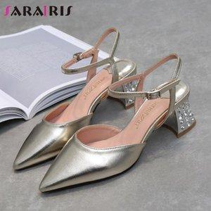 SARAIRIS Moda Sivri Burun Sandalet Kadınlar Tatlı Arkadaş Topuklu Sandalet Bayan Bonjomarisa Yeni Yüksek Chunky Topuklar Metalik Ayakkabılar