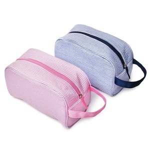 2020 New Gifts Cosmetic Strap Bag Wholesale Blanks Women Rectangles For Seersucker Makeup With Striped Seersucker Pouch Ahnox