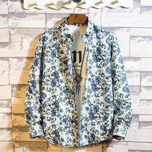 2019 homens Primavera Verão Moda Tide manga comprida Juventude streetwear Man Red Hairstyle divisão de impressão da camisa havaiana Hip Hop T200410