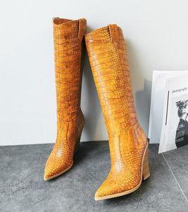 Pequeno grande tamanho 33 a 42 anos para 46 moda das mulheres joelho altas botas de vaqueiro apontado sapatos de grife salto robusto