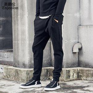 inverno di marca Enjeolon lungo rette pantaloni pantaloni uomini neri a righe pantaloni della tuta degli uomini di qualità pantaloni di spessore casuali maschi KZ6331