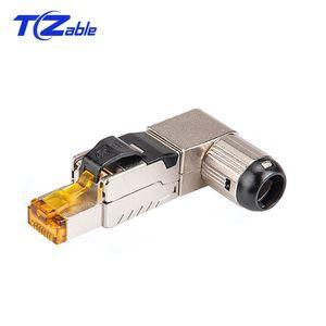 10 pz Cat6A Cat7 Cat8 Cable Crimp Connector 40 Gbps 2000 MHz RJ45 90 Gradi di Rete Ethernet Plug Schermato RJ45 Adattatore