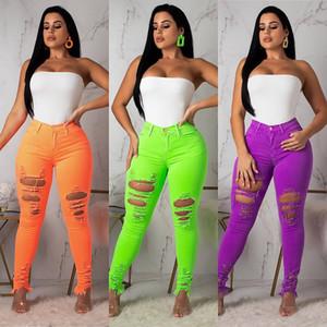 Denim Ripped Jeans 2019 Big Girls Fluorescence Color Mujer Jeans Pantalones Agujeros altamente elásticos Pantalones de mezclilla casuales Pantalones de lápiz de talla grande