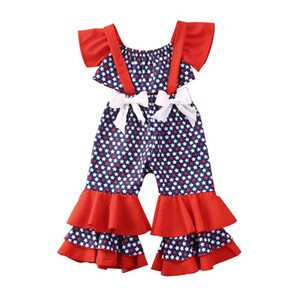 2020 Baby Summer Clothing American Independence Day Girls Clothes Set Kid Girl Off-shoulder Vest Crop Tops Ruffle Bow Bib Pants