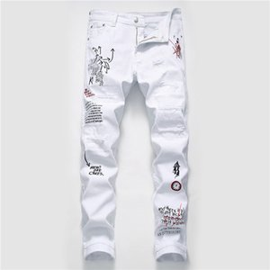 Trou Mens Designer Jeans Fashion Ripped Washed Graffiti Imprimer Hommes Jeans Casual Zipper hommes Fly Vêtements