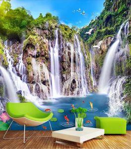 Decoración Mural Wallpaper Paisaje cascada puente de madera 3D paisaje de fondo decoración de la pared papel de pared personalizado hermoso fondo de pantalla