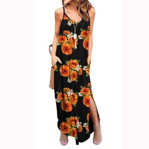 Yaz cepler siyah ayçiçeği baskı kadınlar maxi elbise kolsuz V boyun uzun ayak bileği elbise çiçek baskı yaz bayan rahat tarzı