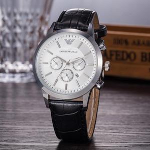 2020 Armani watch Nouvelle montre masculino mode AMN de luxe hommes bracelet en cuir noir avec calendrier petit anneau Ardillon Montre série de plongée maître