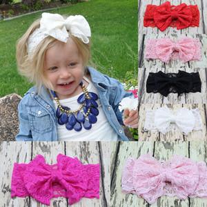 20 Farben-Baby-Big-Spitze-Bogen-Stirnband-Mädchen-netten Bogen-Haar-Band-Baby-reizend Headwrap Kinder Bowknot elastische Spitze Stirnbänder M2023