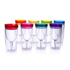 Multi color new Insulated Wine Tumbler Cup double walled with Lid 10oz stemless plastic wine glasses cy DHB652