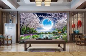 صور 3D ورق جدران ضوء القمر جمال القمر زهرة القمر جيد زهر الكرز شجرة المناظر الطبيعية HD العليا ستريت الداخلية