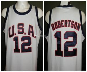 Oscar Robertson # 12 Jogos Olímpicos EUA Dream Team Roma 1960 Retro Basketball Jersey Mens costurado personalizado faz Número Nome Jerseys