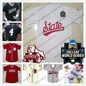 Personalizado Mississippi State Bulldogs 2019 Béisbol Cualquier número Nombre Blanco Rojo Negro Jersey # 15 Jake Mangum 4 Rowdey NCAA CWS Hombres Jersey para jóvenes