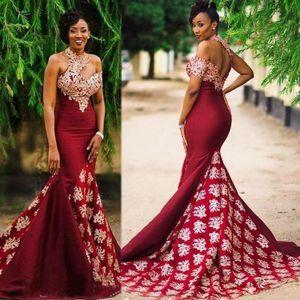 Burgundy African reizvolles Abend-Kleid-formale Partei-Abnutzungs-Nixe-Abschlussball-Kleid Trompete Roben de soirée Saudi-Arabien Plus Size Kleid