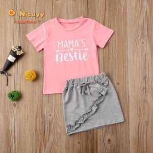 2020 лето малыш Baby Girls Письмо печати с коротким рукавом футболка топ кружева рябить юбка набор повседневный круглый воротник 2 шт. наряд