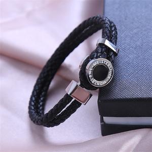 Design classico in pelle nera Woven Bracelets monili di lusso MB Branding francese uomo di fascino uomini indossano Pulseira regalo di compleanno come
