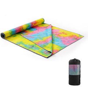 183x63cm Kaymaz Yoga Havlu Yumuşak Seyahat Spor Spor Egzersiz Yoga Pilates Mat Tie-boya Baskılı Battaniye Yoga Minderi Y200506