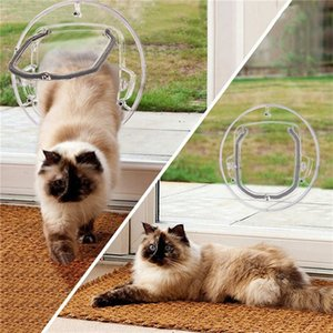 Dog Flap Door for Glass Door Round Shape Small Pet Cat Dog Transparent Gate Lockable Security Pet Entrance Puppy Hole