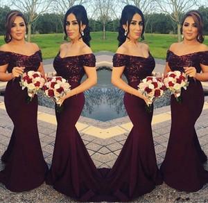 반짝이는 부르고뉴 스팽글 인어 신부 들러리 드레스 2019 어깨 최고의 웨딩 파티 드레스 홍조 핑크 하녀 명예 가운