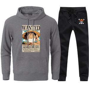 Hip Hop Karikatür Luffy Tişörtü Pantolon Erkek Kış Sıcak Nedensel Spor Sweatpant Suits 2020 Man Kapüşonlular Streetwear ayarlar yazdır