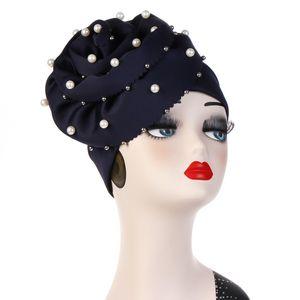 Femmes Musulman Stretchy Perle Perle Grande Fleur Soyeux Coton Turban Bonnets Chapeaux Bonnet Head Wrap Chemo Perte De Cheveux Chapeau Accessoires