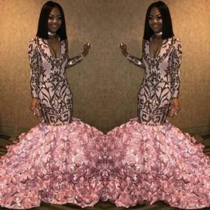 2020 인어 장식 조각 3D 꽃 로즈는 아래 꽃 이브닝 가운 로즈 골드 핑크 V 넥 아프리카 행사 댄스 파티 드레스 가운 데 soiré 아플리케