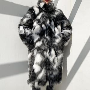 Camouflage spessore collo di pelliccia cappotti Giacca in pelle pelliccia sintetica Parka Outwear Fiore pelliccia tenere in caldo frangivento Uomini Cappotto lungo del Mens caldi