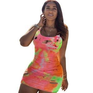 Sexy Women Dress Print Tie Dye Hollow Out Sleeveless Skinny Dresses Summer Vestidos Dresses For Women Plus Size XXXL