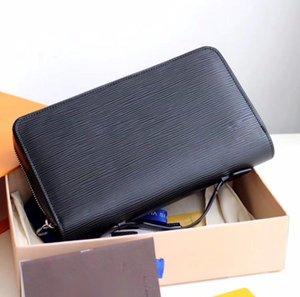 En kaliteli klasik stil ZIPPY Erkekler Ve Kadınlar için debriyaj çanta tasarımcısı gerçek deri kartvizit sahipleri uzun cüzdan kutusu ile 23x15x4 cm