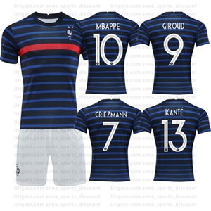2020 de futebol de formação uniformes Home Jersey terno de mangas curtas seleção francesa 10 Mbappé clube confortável e respirável roupas jogo
