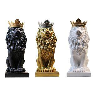 Las estatuas de resina corona león ornamento de la decoración del hogar artesanía de la mascota de escritorio modernos de oficina Figurines esculturas de arte nórdico