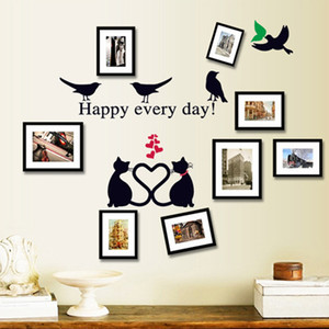 Honc Romantic Cat Wall Sticker Lovers Bird Living Room Background Stairs Photo Frame Decoration Stickers Diy Decals Home Decor