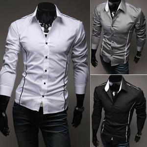 Camisa para hombre formal del vestido de manga larga camisas comerciales Ajuste normal con 3 colores tamaño asiático M-3XL